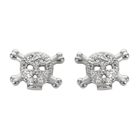 Bling Stone Earrings Silver Tone Imitation Diamonds Post & Nut Stainless Steel Motorcycle Biker Jewelry