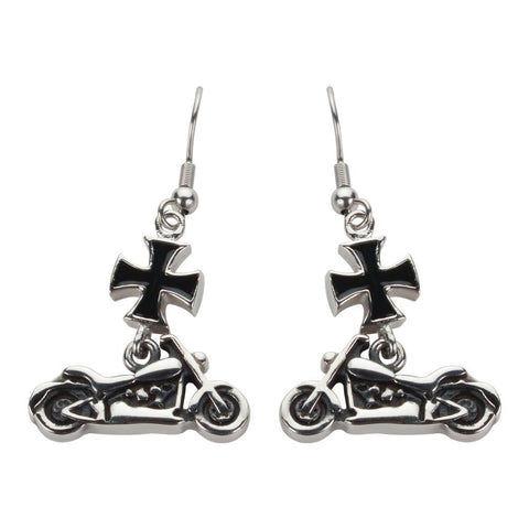 Small Motorcycle Iron Cross French Wire Earrings Stainless Steel Motorcycle Biker Jewelry
