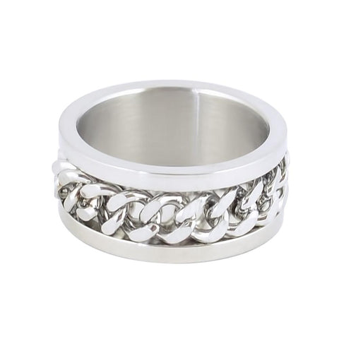 Silver Edition Gents Cuban Link Spinner Ring Stainless Steel Motorcycle Jewelry