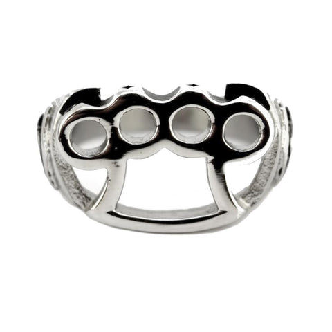 Gents Brass Knuckles Ring Stainless Steel Motorcycle Jewelry Knock Out