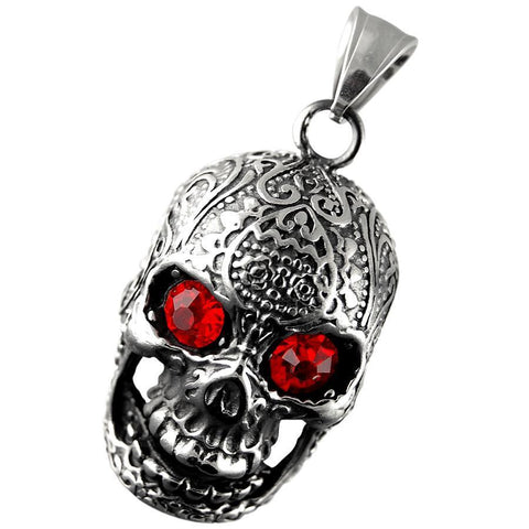 Stainless Steel CZ Diamond Skull Head Pendant Necklace