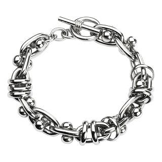 Stainless Steel Bracelet with Toggle Clasp with Moving Dumbbells