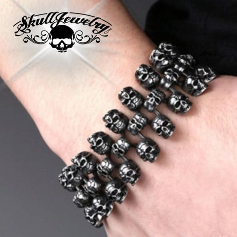 Triple Threat' Big, Bold & Heavy Skull Bracelet