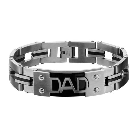 Stainless Steel Engraved DAD Black IP & Steel Link Bracelet