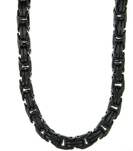 6-10mm Black Byzantine Necklace (Stainless Steel)