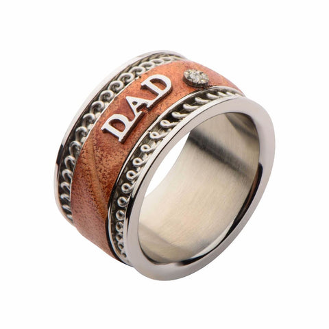 Stainless Steel Brown Leather DAD Ring