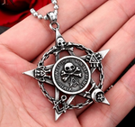 Gothic Pentacle Pendant with Skulls