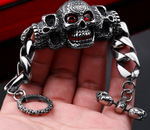 Badass HEAVY SKULL Bracelet with Red Stones