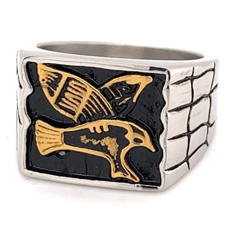 Gold Plated Eagle Center Stainless Steel Ring