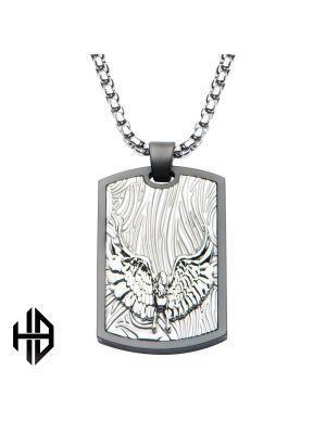 Hollis Bahringer Sandblasted Gun Metal Eagle Dog Tag Pendant with Chain