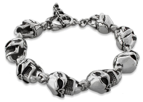Men's Stainless Steel Cracked Head Skull Bracelet