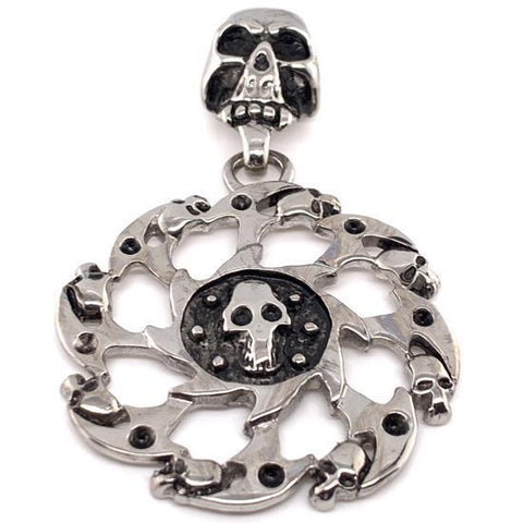 Skull Centered In Circle Pattern Stainless Steel Pendant