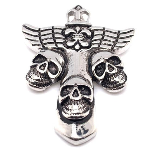 Large Cross With Skulls Stainless Steel Pendant