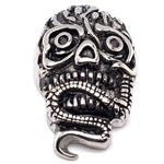 Large Red Eyes Skull With Snake Stainless Steel Pendant