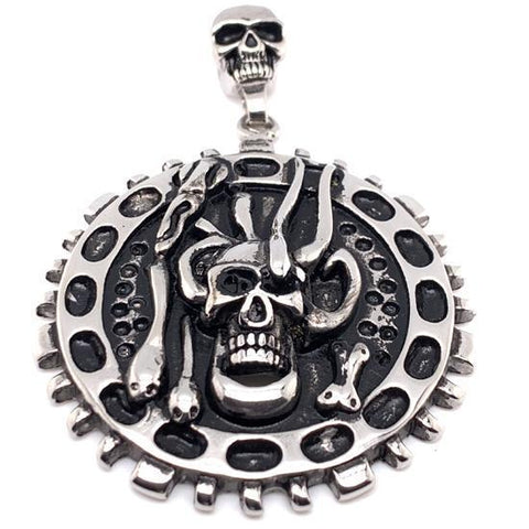 Large Skull Steel Pendant