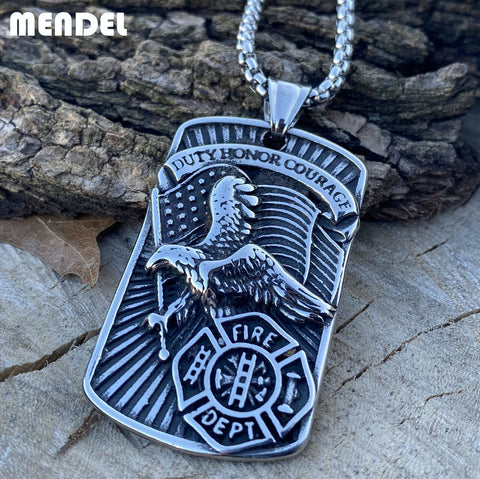 MENDEL Mens Stainless Steel Fireman Firefighter Eagle Pendant Necklace Jewelry