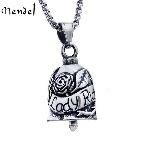 MENDEL Womens Lady Biker Guardian Gremlin Bell Pendant Necklace Stainless Steel