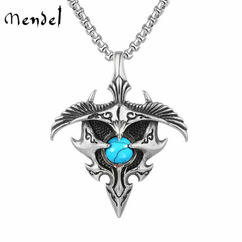 MENDEL Mens Native Indian Turquoise Cross Eagle Pendant Necklace Stainless Steel