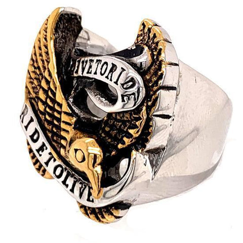"Gold ""Live To Ride"" ""Ride To Live"" Stainless Steel Ring"