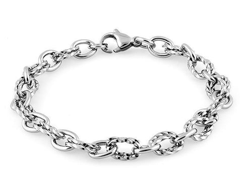 Stainelss Steel Thin Twisted Cable Chain Link Bracelet