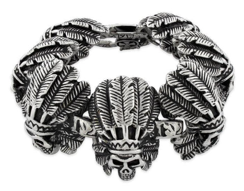 Stainless Steel Chief Indian Skull Link Bracelet