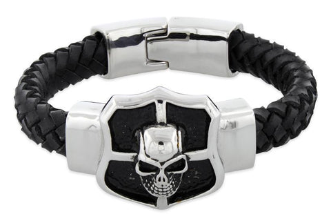 Stainless Steel Crest Shield Skull Leather Bracelet