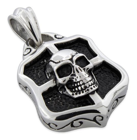 Stainless Steel Crest Shield Skull Pendant