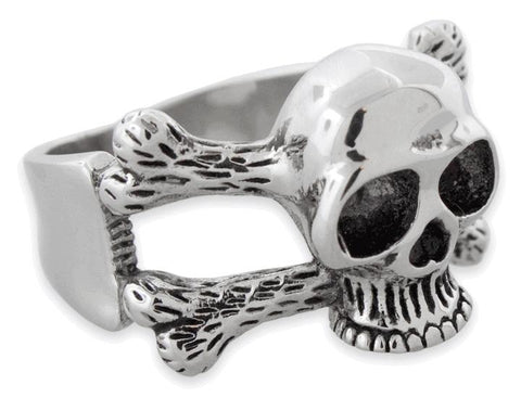 Stainless Steel Cross Bones Skull Ring