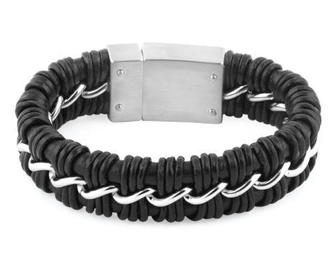 Stainless Steel Curb Chain Black Leather Bracelet