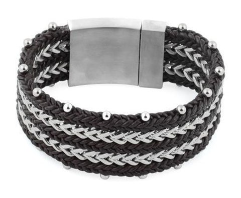 Stainless Steel Double Chain Dark Brown Leather Bracelet