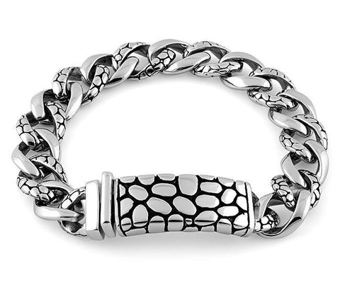 Stainless Steel ID Reptile Curb Link Bracelet