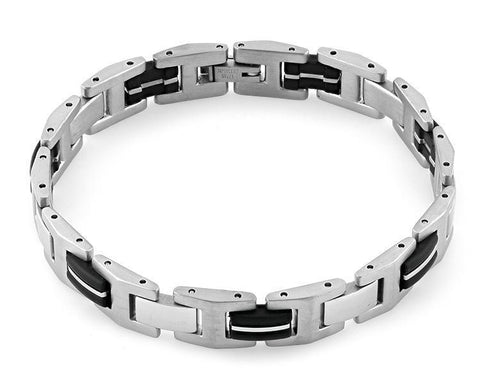 Stainless Steel Link Black Bracelet