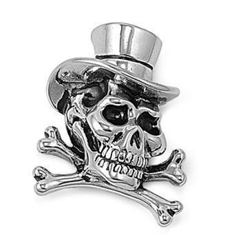 Stainless Steel Skull Bone with Hat Pendant