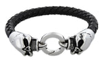 Stainless Steel Twin Skull Leather Bracelet
