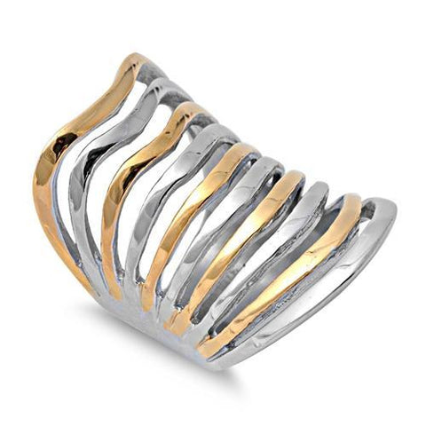 Stainless Steel Two Tone Wave Ring
