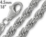 "Sterling Silver 18"" Rope Chain Necklace 4.5MM"