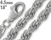 "Sterling Silver 18"" Rope Chain Necklace 4.5mm - S925 Silber"