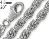 "Sterling Silver 20"" Rope Chain Necklace 4.5MM"