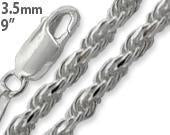 "Sterling Silver 9"" Rope Chain Anklet 3.5MM"
