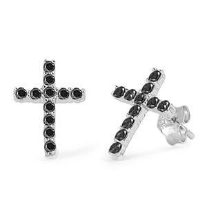 Sterling Silver Cross Black CZ Stud Earrings