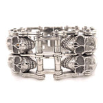 Chunky Stainless Steel Polished Double Skull Bracelet