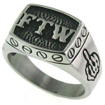 """FTW"" Middle Finger Stainless Steel Ring - Badass Biker Jewelry Emporium"