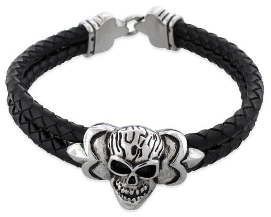 Stainless Steel Skull Fleur De Lis Lock Leather Bracelet