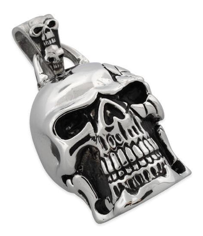 Stainless Steel Cracked Head Skull Pendant w/ Double Skull Bail