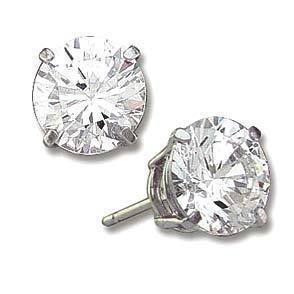 3 ct Sterling Silver CZ Stud Earrings 7MM