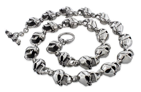 Stainless Steel Cracked Head Skull Necklace - 24 Inches