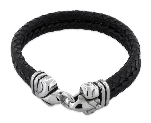 Stainless Steel Fleur De Lis Lock 2 String Leather Bracelet