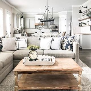 gray sectional and gray rug farmhouse style design