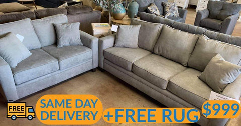 Gray living room set plus free furniture delivery and rug