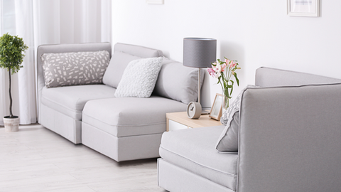 Gray sectional in a living room